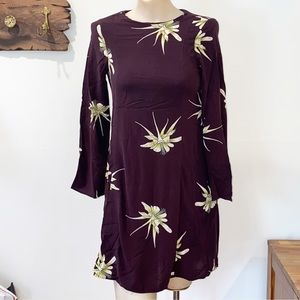 H&M Mini foral dress wine purple with yellow color